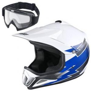 AHR H-VEN12 Youth DOT Motocross Helmet and Goggles Set Clear Lens ATV MX Off-road Kids Blue XL