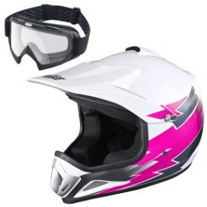 AHR H-VEN12 Youth DOT Motocross Helmet and Goggles Set Clear Lens ATV MX Off-road Kids Pink XL