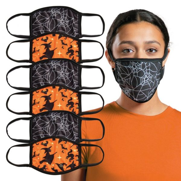 Adult's Halloween Washable Face Masks - 6 Pc.