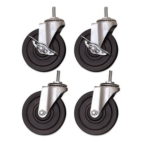 Alera Optional Casters for Wire Shelving, 200 lbs/Caster, Gray/Black,