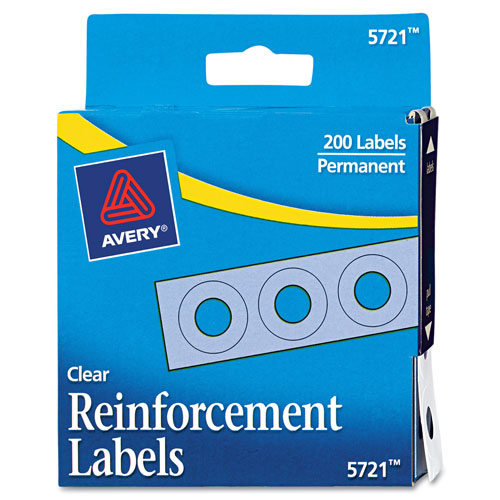 """Avery Dispenser Pack Hole Reinforcements, 1/4"""" Dia, Clear, 200/Pack"""