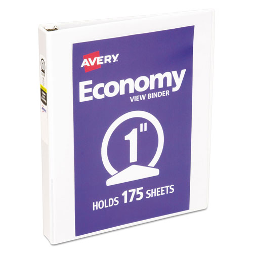"""Avery Economy View Binder with Round Rings , 3 Rings, 1"""" Capacity, 11"""