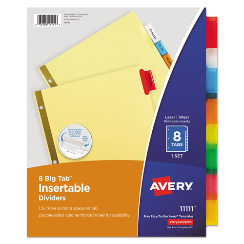 Avery Insertable Big Tab Dividers, 8-Tab, Letter