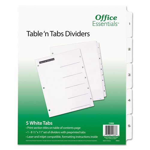Avery Table 'n Tabs Dividers, 5-Tab, 1 to 5, 11 x 8.5, White, 1 Set
