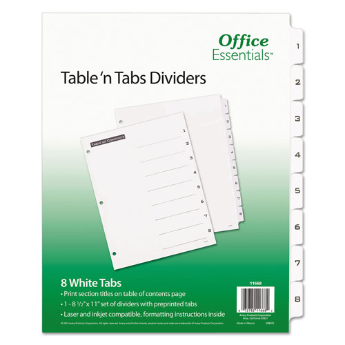 Avery Table 'n Tabs Dividers, 8-Tab, 1 to 8, 11 x 8.5, White, 1 Set