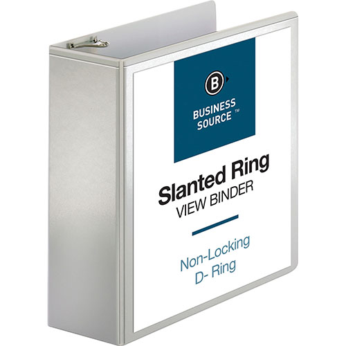 """Business Source 39% Recycled D-Ring Presentation Binder, 4"""" Capacity,"""