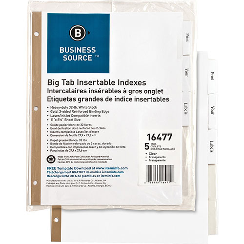 Business Source 5-Tab Index Tabs, White