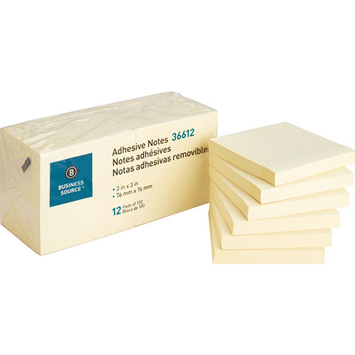 """Business Source Adhesive Notes, 100 Sheets, 3"""" x 3"""", Yellow"""