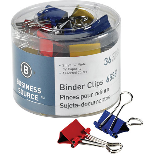 """Business Source Binder Clips, 3/4""""W, 3/8"""" Capacity, 36"""