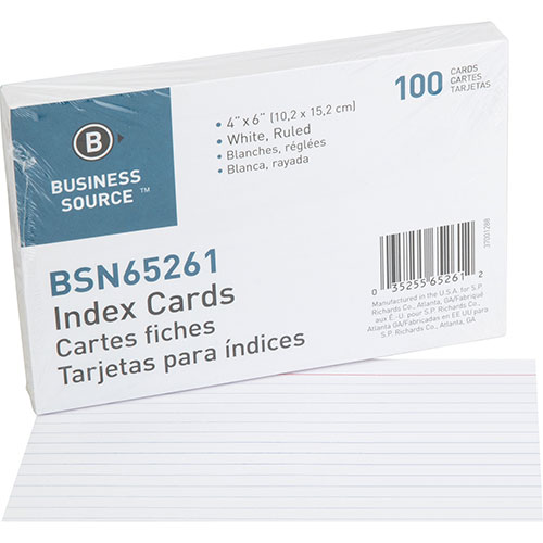 """Business Source Index Cards, Ruled, 90lb., 4"""" x 6"""", White"""