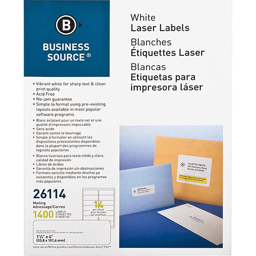 """Business Source Label, Mailing, Laser, 1-1/3x4"""", 1White"""