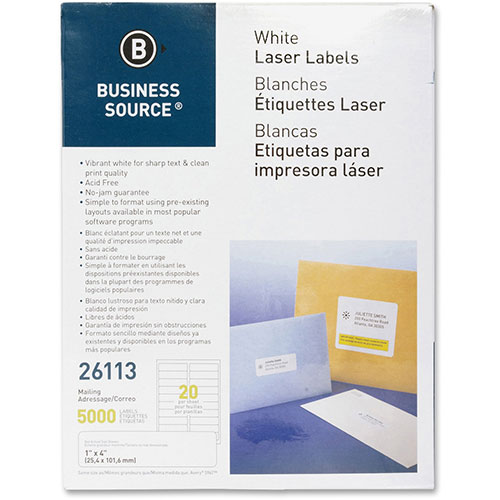 """Business Source Label, Mailing, Laser, 1"""" x 4"""", 5000 Pack,"""