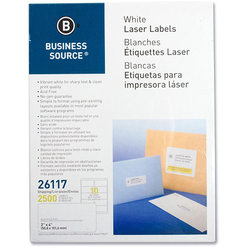 """Business Source Labels, Mailing, Laser, 2"""" x 4"""", 2500 Pack,"""