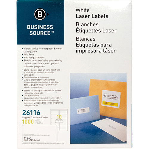 """Business Source Labels, Mailing, Laser, 2"""" x 4"""", White"""