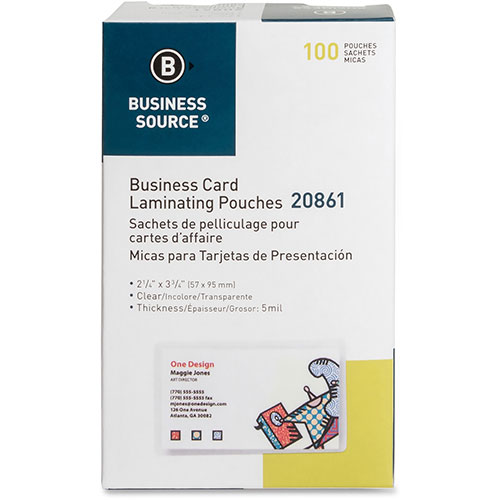 """Business Source Laminating Pouch, Bus Card, 5Mil, 2-1/4"""" x 3-3/4"""","""