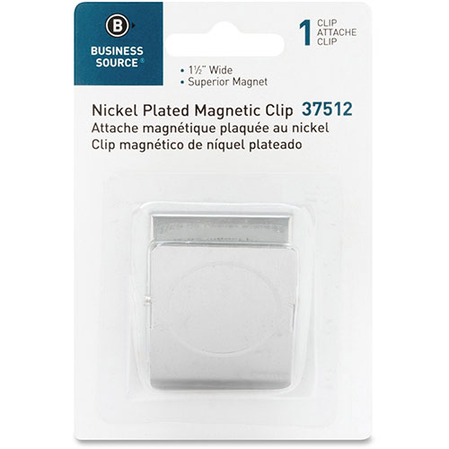 """Business Source Magnetic Metal Clip, 1.50"""", Chrome"""