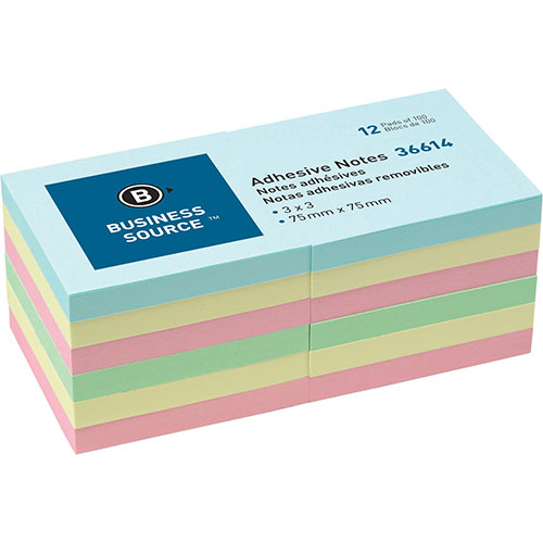 """Business Source Repositionable Notes, 3"""" x 3"""", 12 PD Pack,"""