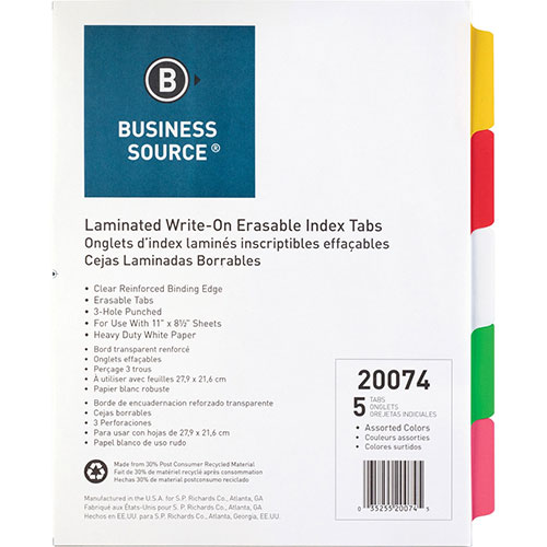 Business Source Write-On Index Tabs, Assorted Colors