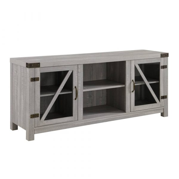 """Clarabelle Farmhouse Glass Barn Door TV Stand for TVs up to 65"""" Stone Gray - Saracina Home"""