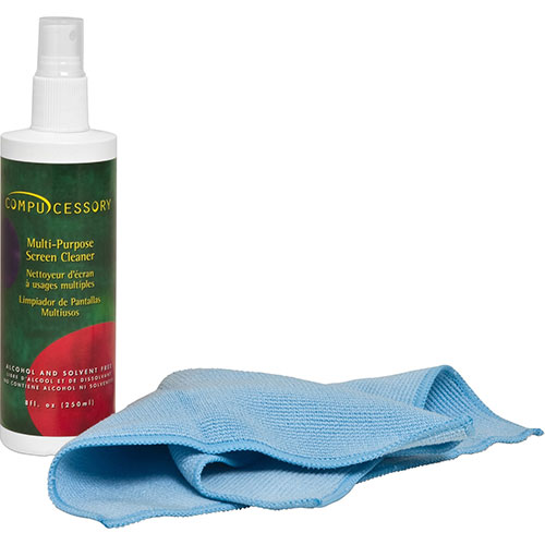 Compucessory Screen Cleaner, W/Microfiber Cloth, Spray Bottle, No
