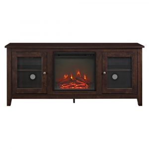 """Cozy Glass Door Fireplace TV Stand for TVs up to 60"""" Traditional Brown - Saracina Home"""