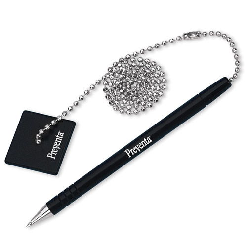"""Iconex Counter Pen With 24"""" Ball Chain/Base, Black Pen/Black Ink"""