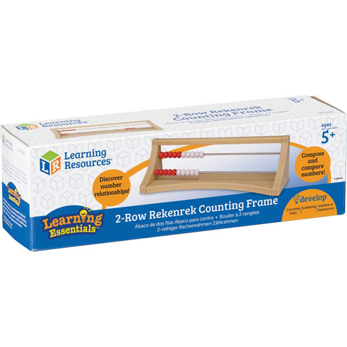 """Learning Resources Rekenrek Counting Frame, 2-Row, 2-3/4""""Wx9""""Lx3""""H,"""