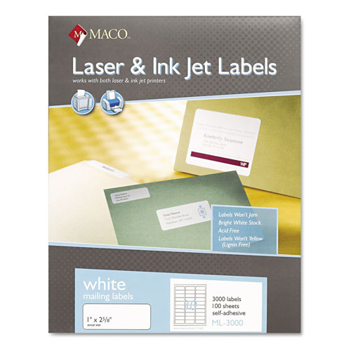Maco Tag & Label White Laser/Inkjet Shipping and Address Labels,