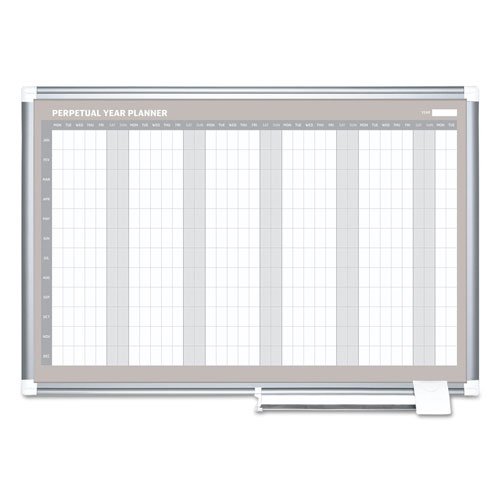 MasterVision™ Perpetual Year Planner, 48x36, White/Silver,
