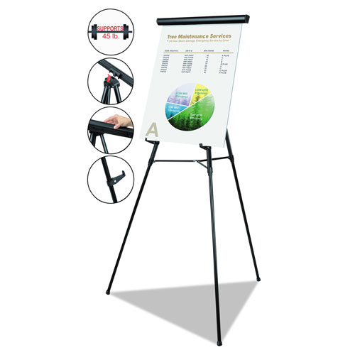 """MasterVision™ Telescoping Tripod Display Easel, Adjusts 38"""" to"""