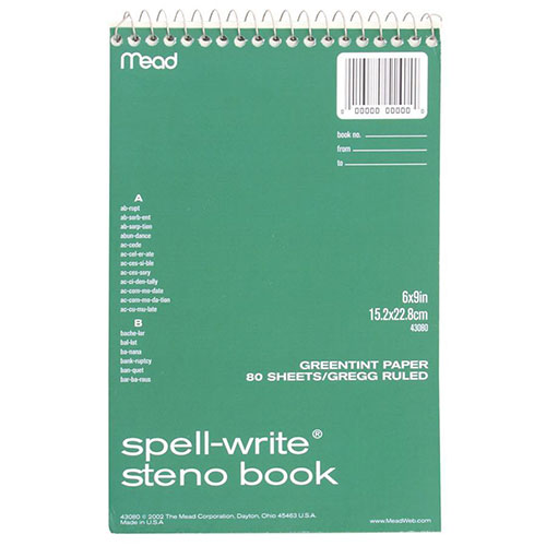 """Mead Steno Book, Gregg Ruled, Perforated, 8-1/2""""x6"""", 80"""