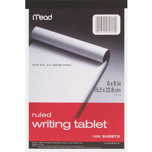 """Mead Writing Tablet, Top-bound, Ruled, 20 lb., 6"""" x 9"""" 100"""