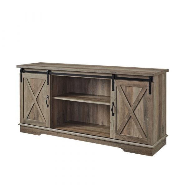"""Modern Farmhouse Wood TV Stand for TVs up to 65"""" Gray Wash - Saracina Home"""