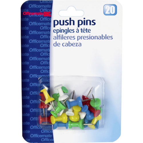 """Officemate Push Pins, Plastic, Assorted Colors, Head 1/2"""" L"""