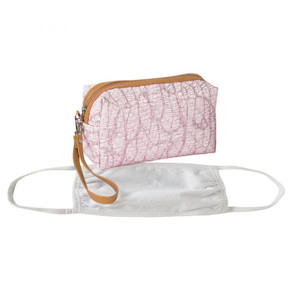 Pink Face Mask Storage Case with Faux Leather Trim