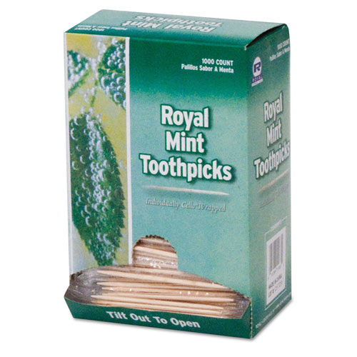 """Royal Mint Cello-Wrapped Wood Toothpicks, 2 1/2"""", Natural,"""
