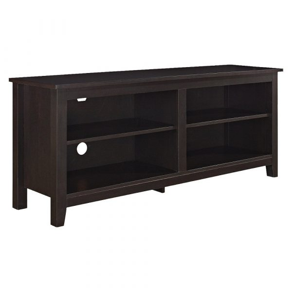 """Rustic Weathered Wood TV Stand for TVs up to 65"""" Espresso Brown - Saracina Home"""