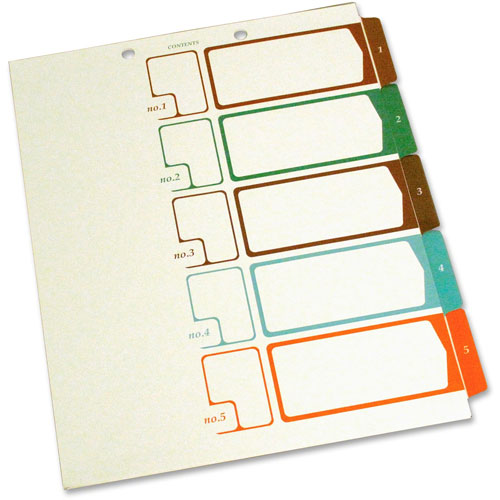 S And J Paper / Gussco Table of Contents 1/5 Cut Sheet Dividers,