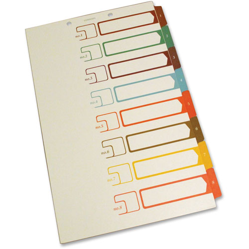 S And J Paper / Gussco Table of Contents 1/8 Cut Sheet Dividers,