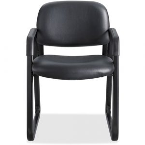 Safco Cava Collection Sled Base Guest Chair, Black Vinyl