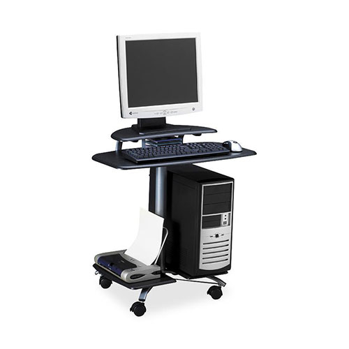 Safco FPD Mobile Computer Workstation, Charcoal Gray