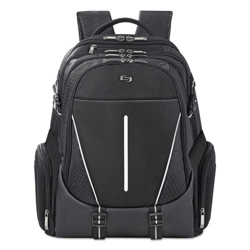 """Solo Active Laptop Backpack, 17.3"""", 12 1/2 x 6 1/2 x 19, Black"""