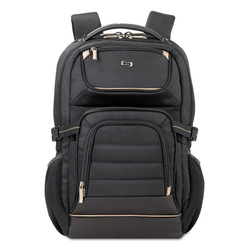 """Solo Pro Backpack, 17.3"""", 12 1/4"""" x 6 3/4"""" x 17 1/2"""", Black"""