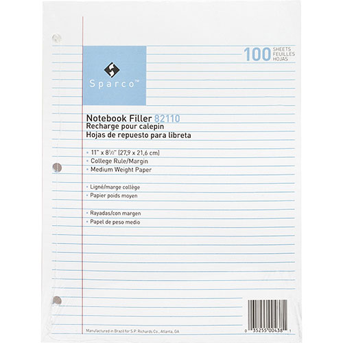 """Sparco filler paper, college ruled with margin line, 11""""x8"""