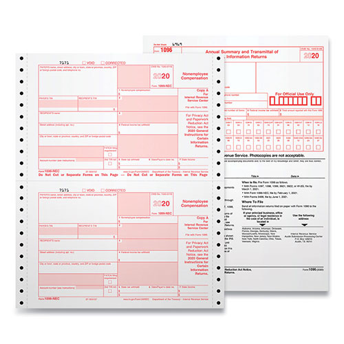 TOPS 4-Part 1099-NEC Continuous Tax Forms, 8.5 x 11, 24/Pack, 15