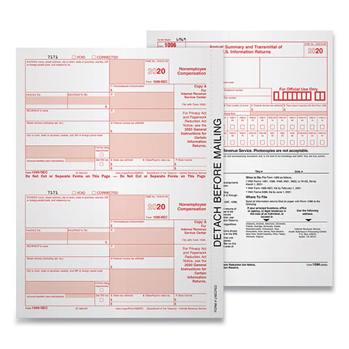 TOPS 5-Part 1099-NEC Tax Forms, 8.5 x 11, 50/Pack, 6 Packs/Carton