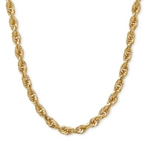 """030 Rope Chain 24"""" Necklace (4mm) in Solid 14k Gold"""
