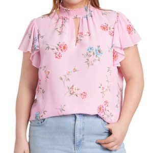 1.state Plus Size Smocked Flutter-Sleeve Printed Top