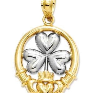 14k Gold and Sterling Silver Charm, Claddagh and Shamrock Charm