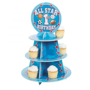 """1st Birthday """"All Star"""" Cupcake Stand Multicolor"""
